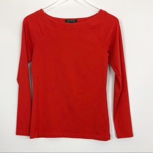 Ralph Lauren Red Cotton Stretch Long Sleeve Top M